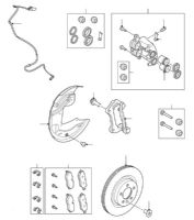 Front Brake Pads, Discs and Calipers Coil Spring models from VIN DA000001